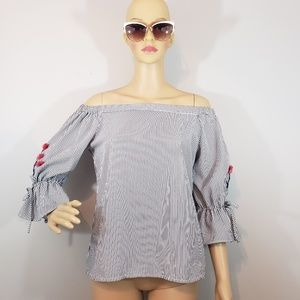 Roommates Off the Shoulder Pinstripe top